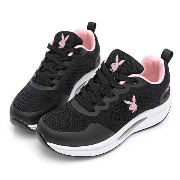 PLAYBOY 輕量飛織 足弓氣墊休閒鞋-黑粉(Y7237)