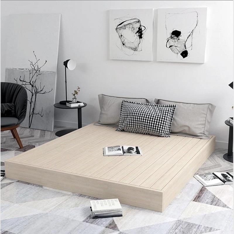 ins#【新款】實木硬板落地床1.5雙人床架loft民宿床1.8ins矮床榻榻米日式地臺