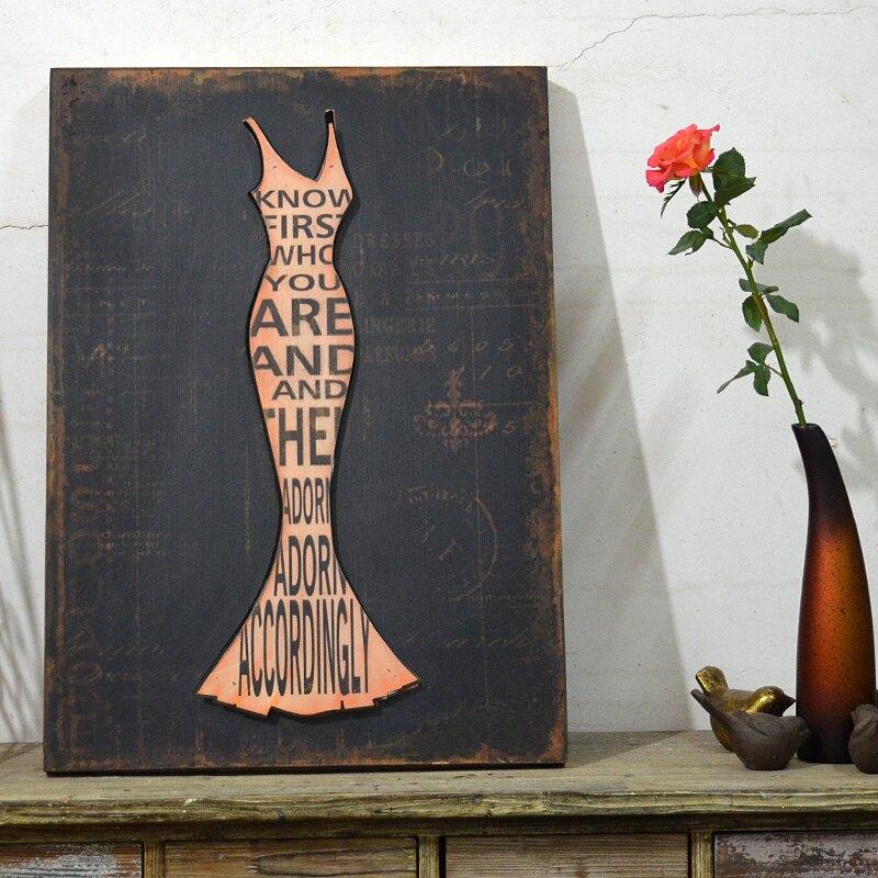 法式鄉村做舊英文字母浮雕立體女郎木板畫復古無框畫裝飾畫壁畫1入