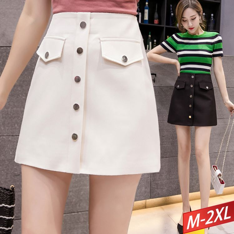 現貨出清 金屬排釦翻摺造型短裙(2色)M~2XL【751648W】【現貨】-流行前線-