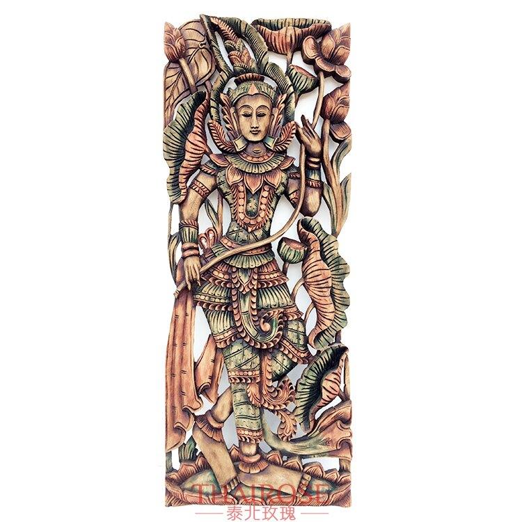 泰國柚木雕花板 人物荷花35*90cm長方形 泰北玫瑰尺寸全1入