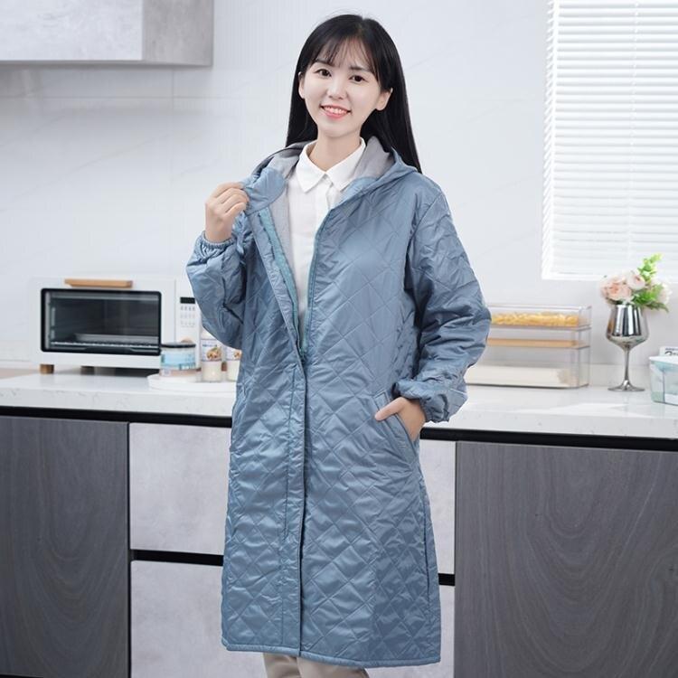 长袖围裙 圍裙家用廚房男女士加絨冬季外套大人時尚長袖防水防油工作服罩衣 家家百貨