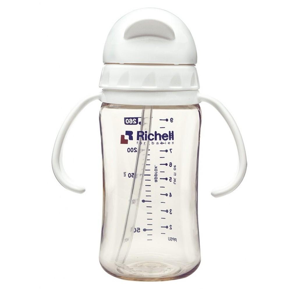 日本 Richell-利其爾 PPSU吸管型哺乳瓶260ml /共三色