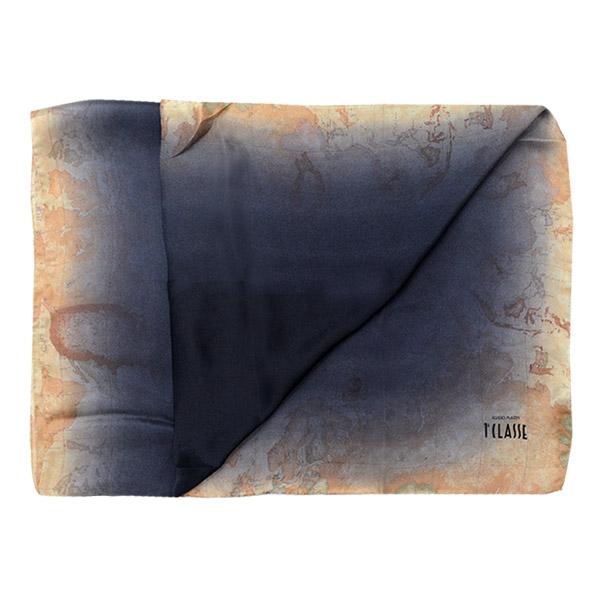 【Alviero Martini 義大利地圖包】暈染經典地圖絲巾-70X200-黑/地圖黃