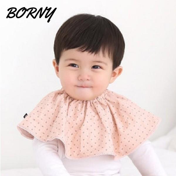 韓國 Borny360度披肩造型旋轉紗質圍兜/口水巾 (粉閃星)