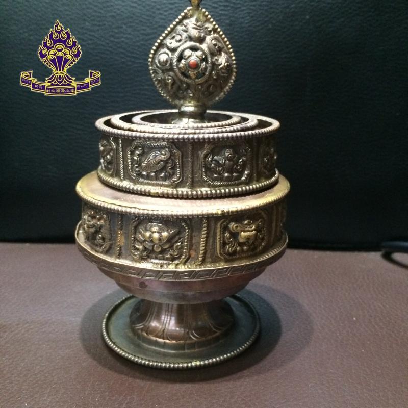利眾福澤之家 佛教用品 尼泊爾進口 純手工雕花八吉祥紫銅曼扎盤1入