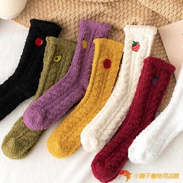 4雙裝 珊瑚絨刺繡襪子女堆堆襪秋冬保暖家居地板襪日系睡眠襪【小獅子】