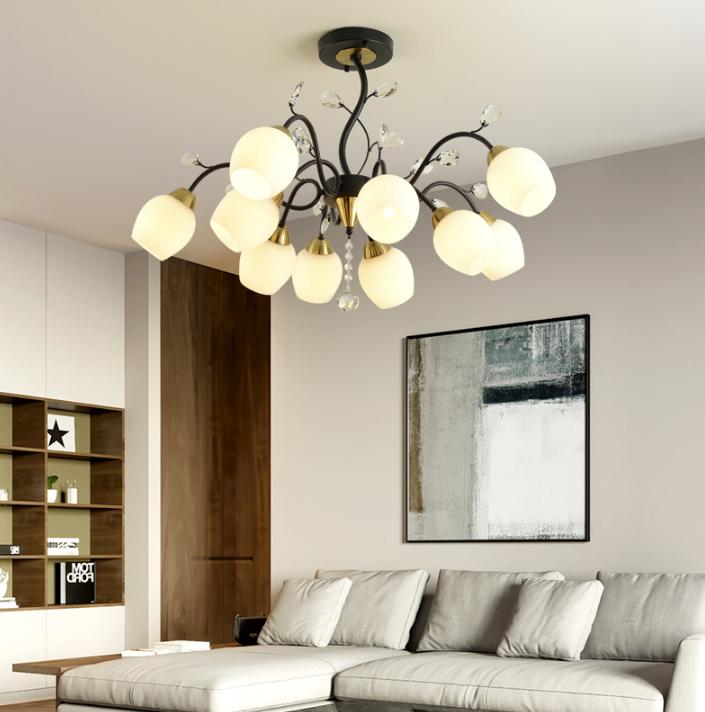 10頭 燈 燈具 吊燈 110v  北歐吊燈 客廳燈 大氣家用現代簡約臥室燈美式創意水晶網紅餐廳燈具