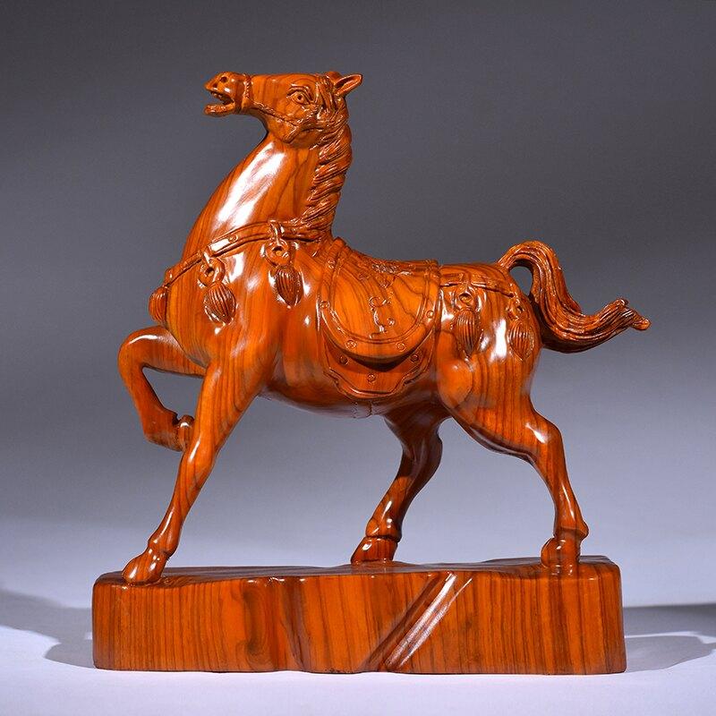 黃花梨木雕唐馬擺件實木生肖馬家居客廳辦公室飾品擺設紅木工藝品