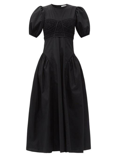 Cecilie Bahnsen - Clementine Smocked-bodice Cotton-blend Dress - Womens - Black