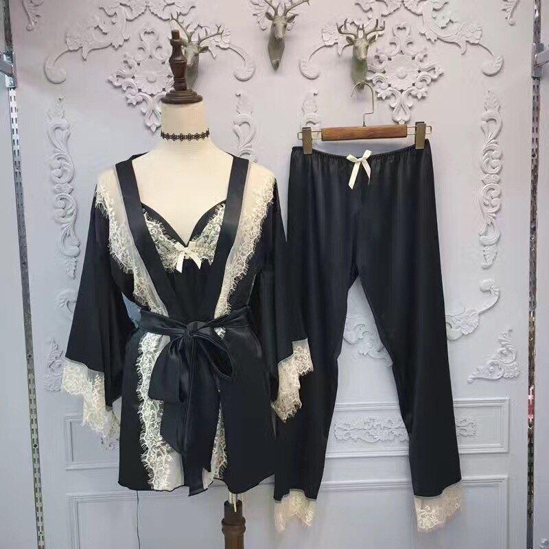 歐美新款高檔絲綢綢緞網紗蕾絲拼接仿真絲三件套吊帶睡袍家居服1入