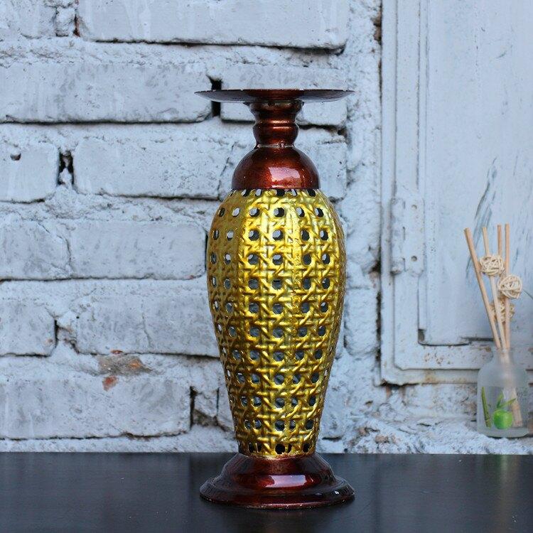 歐式復古鏤空鐵藝燭臺 鎏金做舊 家居裝飾品 櫥窗陳列攝影道具1入