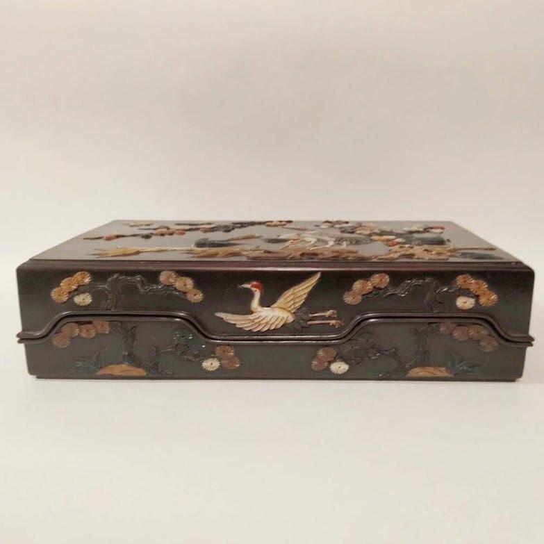 螺鈿仙鶴[長命百歲]文房用品擺件