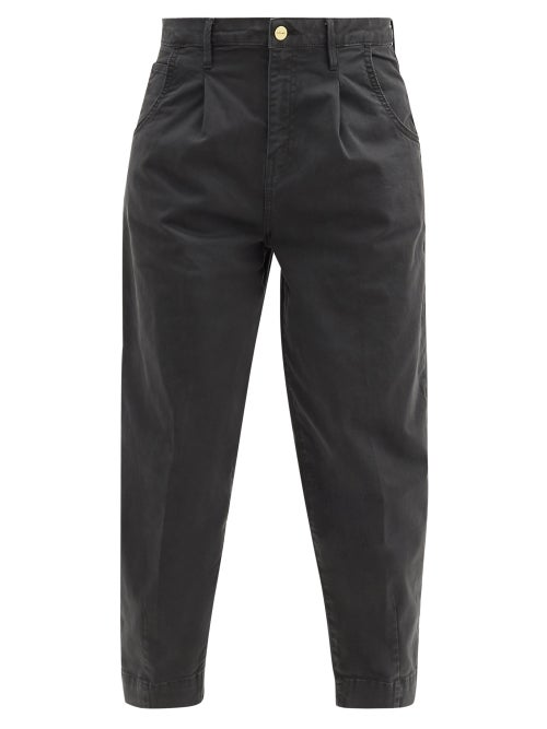 Frame - Pleated High-rise Barrel-leg Jeans - Womens - Dark Grey