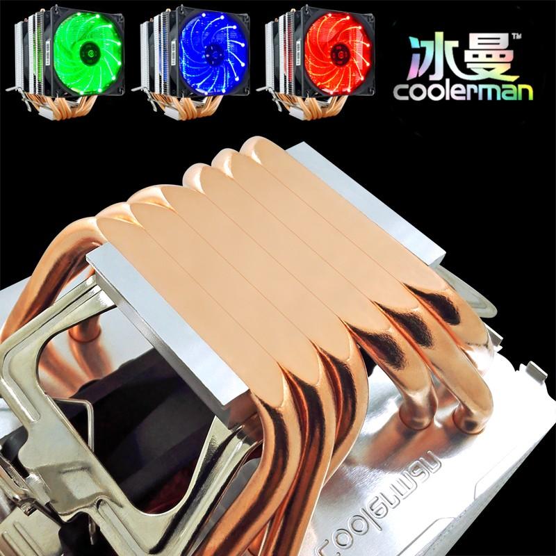 廠家直銷量大優惠冰曼 6熱管CPU散熱器超靜音1155AMD1150 1151臺式電腦CPU風扇2011