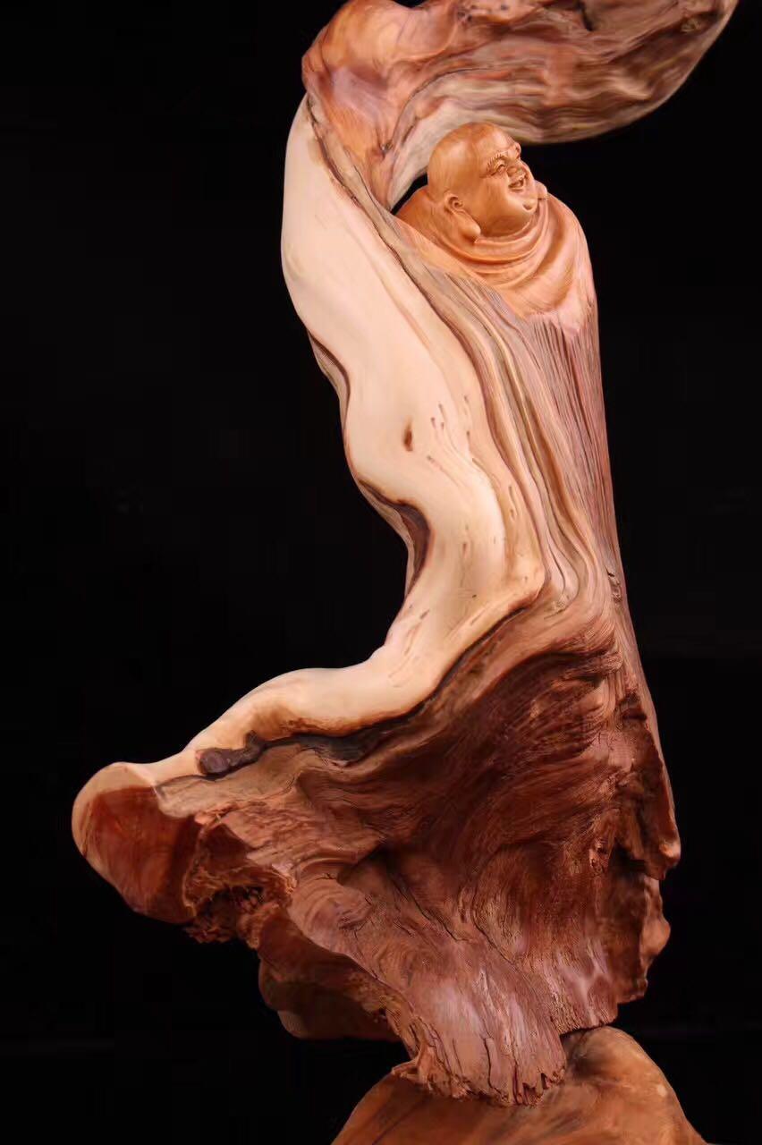 三會紅 崖柏木根雕擺件陳化料 太行根雕工藝品人物彌勒佛天然根雕1入