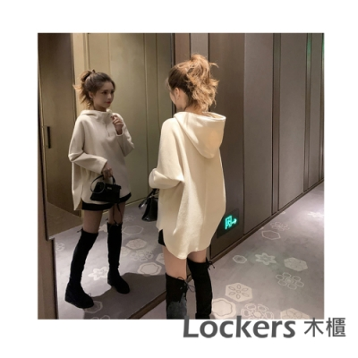 Lockers 木櫃 韓版寬鬆連帽拉鍊薄款衛衣/上衣-4色