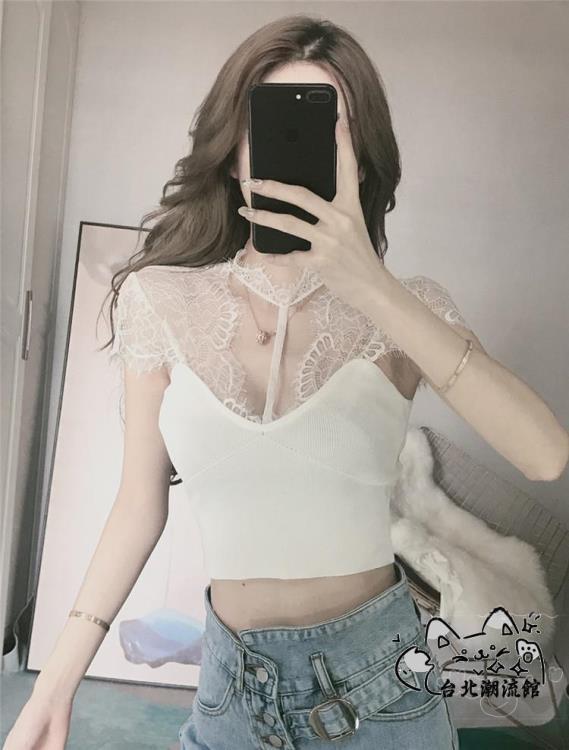 蕾絲上衣 上衣女裝2020年夏季新款性感緊身掛脖低胸短款高腰蕾絲黑色t恤潮 VK122
