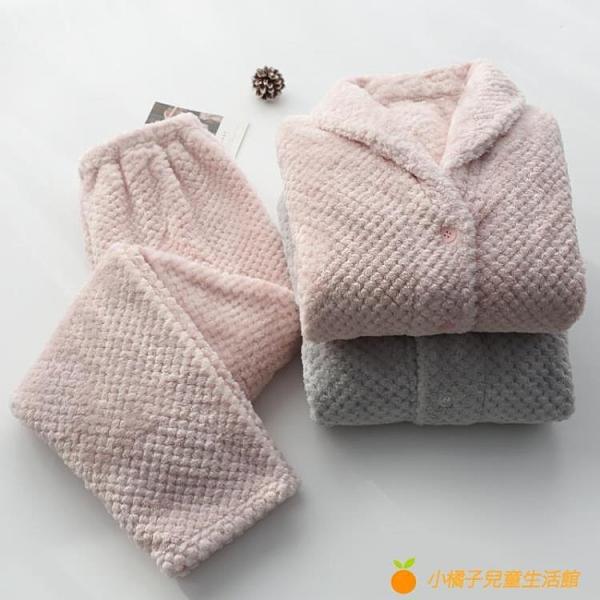 日系菠蘿格法蘭絨情侶睡衣秋冬季加厚加絨保暖長袖家居服套裝【小橘子】