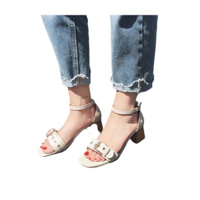 韓國KW美鞋館-(現貨)英倫格調魚口粗跟涼鞋(共1色)