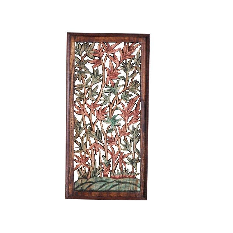 東南亞工藝品實木鏤空彩繪花卉木雕掛板 泰式居家裝飾品壁飾壁掛1入