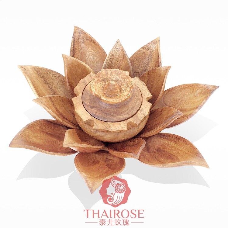 泰國工藝品 木雕荷花蓮花客廳擺件家居飾品 東南亞創意糖果干果盤1入