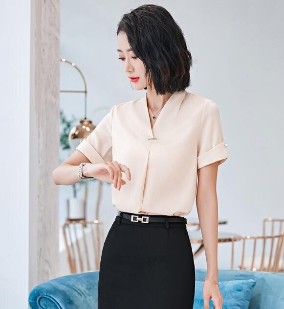 職業襯衫女短袖工作服2020新款夏季時尚洋氣高端氣質V領白襯衣OL 限時8折鉅惠