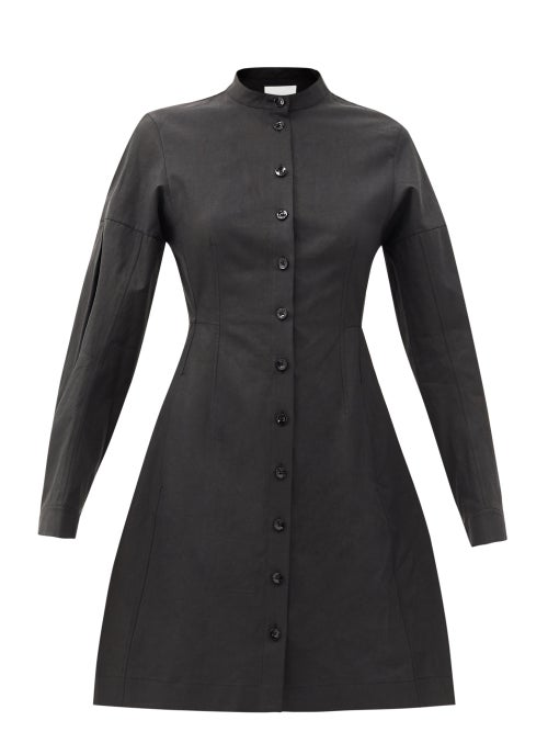 Jil Sander - Long-sleeve Flared Linen Dress - Womens - Black