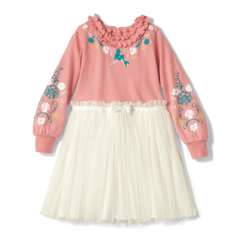 日本千趣會 - 迪士尼公主紗裙襬長袖洋裝-小美人魚-粉白