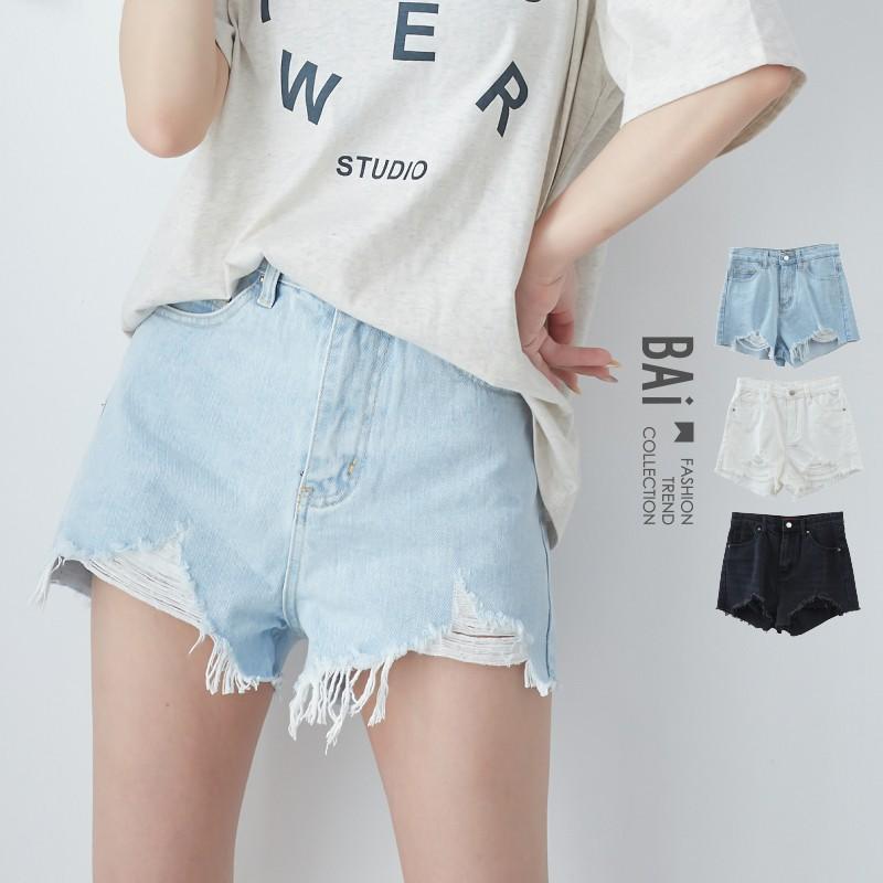 短褲 V型刷破鬚邊單釦斜紋牛仔褲S-L號-BAi白媽媽【304003】