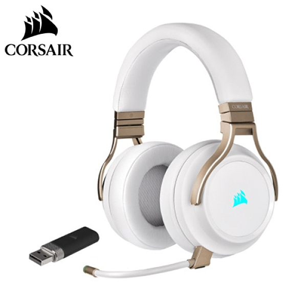 CORSAIR 海盜船 VIRTUOSO RGB WIRELESS 高保真電競耳機 珍珠白