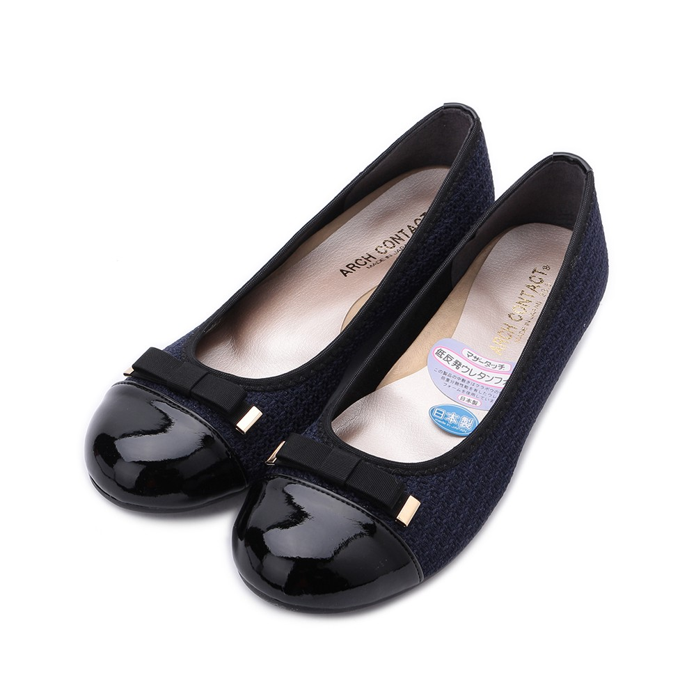 FIRST CONTACT 扁結拼接平底鞋 藍 39082 女鞋