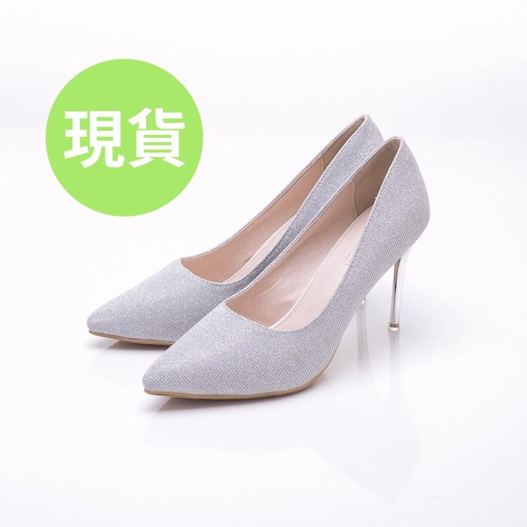 大尺碼女鞋41-44【現貨】艾蜜莉 浪漫婚鞋首選玩美白紗尖頭高跟鞋9cm【MEX10】