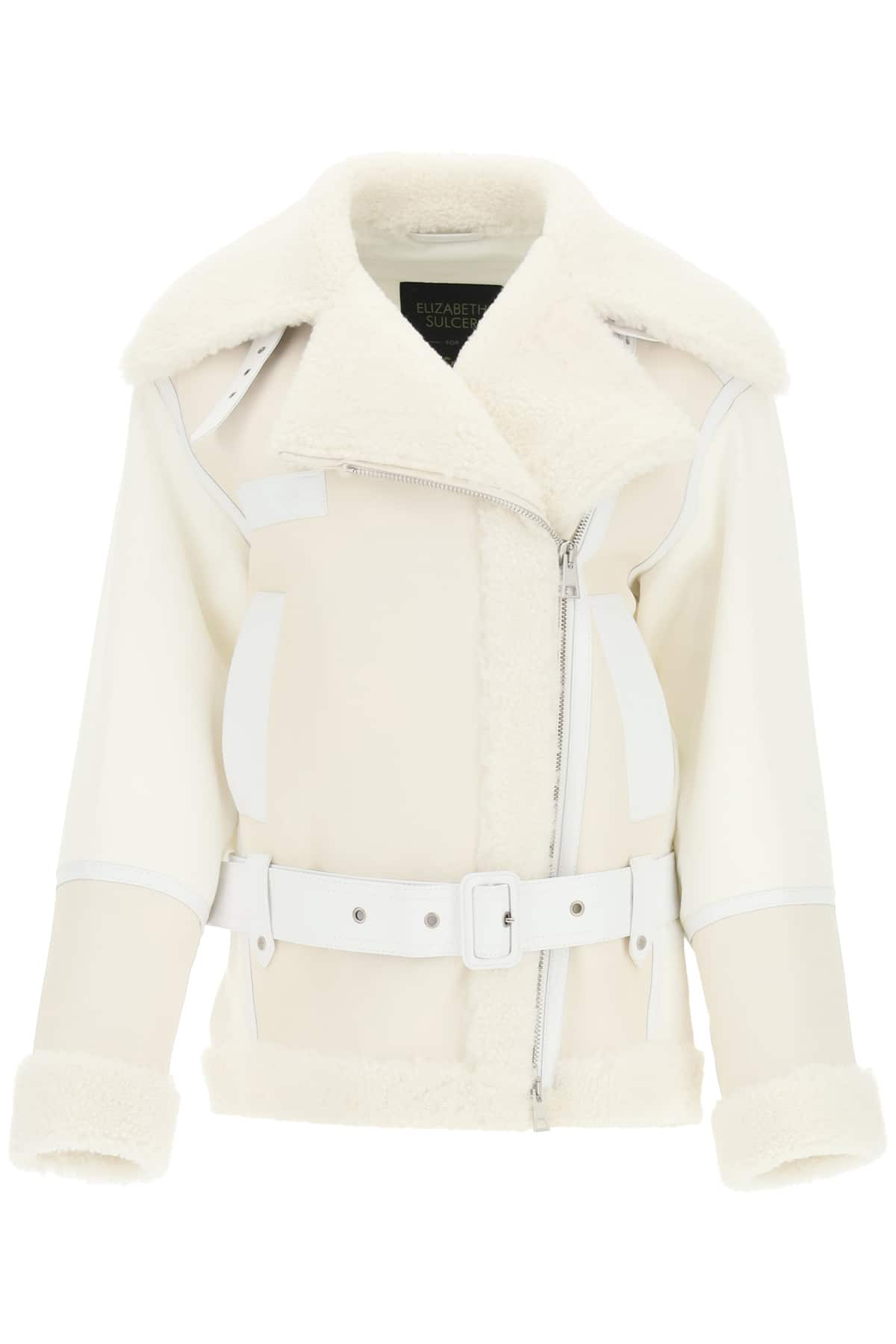 MR & MRS ITALY COTTON JACKET WITH NAPPA AND SHEARLING INSERTS S White Leather, Fur, Cotton