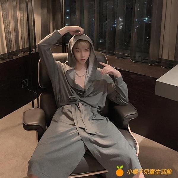 睡衣男女秋冬日系灰素色休閒寬鬆連帽睡袍家居服【小橘子】