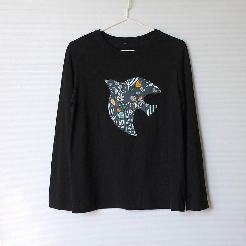 飛鳥花園微寬鬆黑色長袖T-shirt No.3