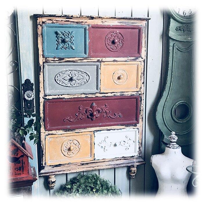 鄉村懷舊風格木質+鐵斗柜造型超大壁掛 經典墻飾1入