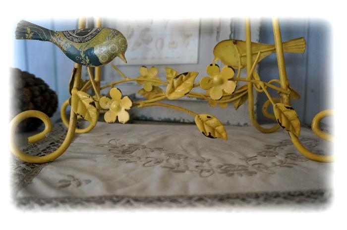 法式鄉村 復古做舊彩繪小鳥鐵質黃色桌鐘 靜音 走時準1入