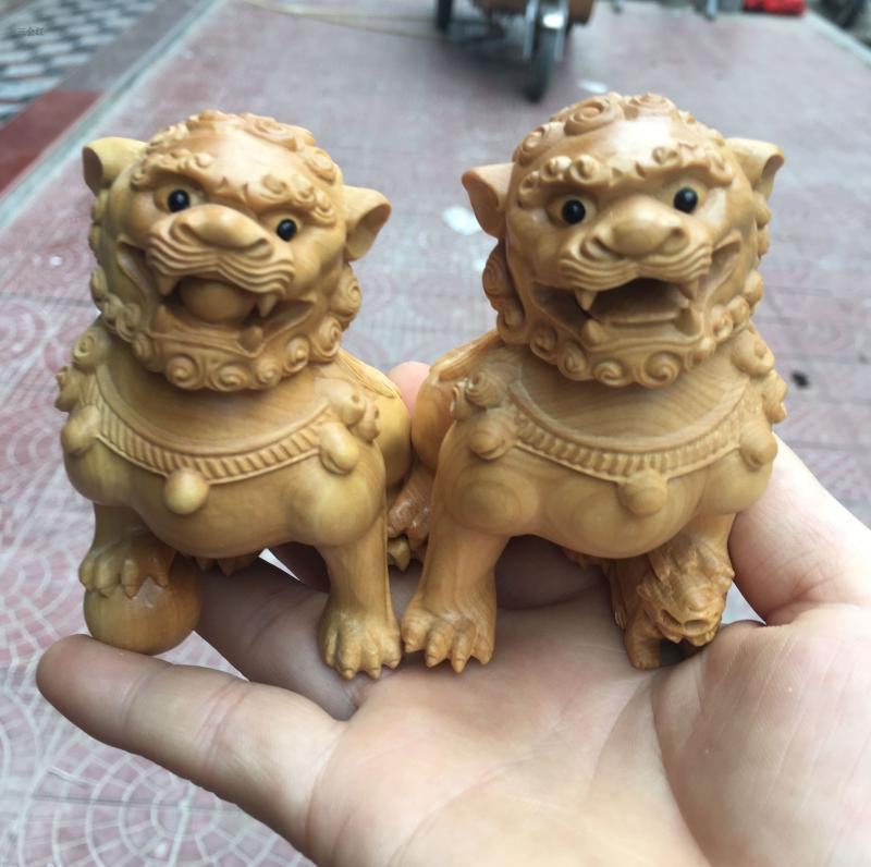 黃楊木雕獅子擺件一對雌雄招財汽車飾品雕刻工藝品文玩手把件1入