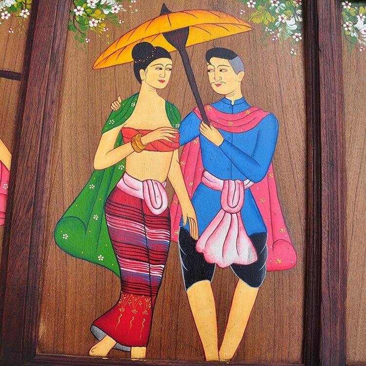 泰國進口工藝 柚木純手工手繪人物油畫掛板家居裝飾 壁掛墻飾掛件1入