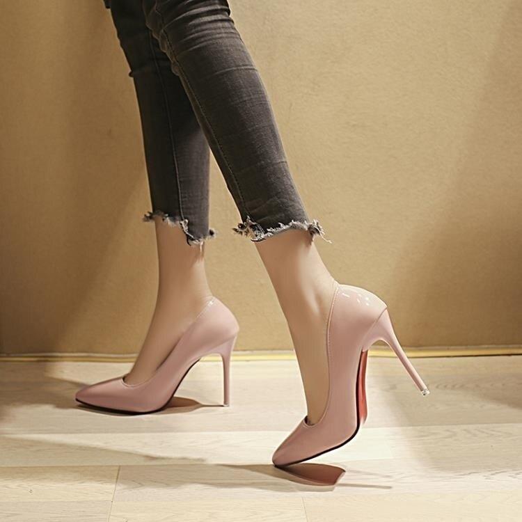 跟鞋 漆皮高跟鞋女細跟婚鞋紅色性感單鞋秋冬新款百搭單鞋 家家百貨
