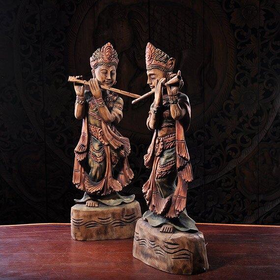 泰國進口手工木制雕刻人物擺件東南亞實木彩繪桌面擺設1入