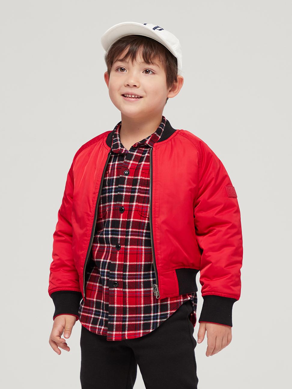 男童 新年紅刺繡棒球領棉外套