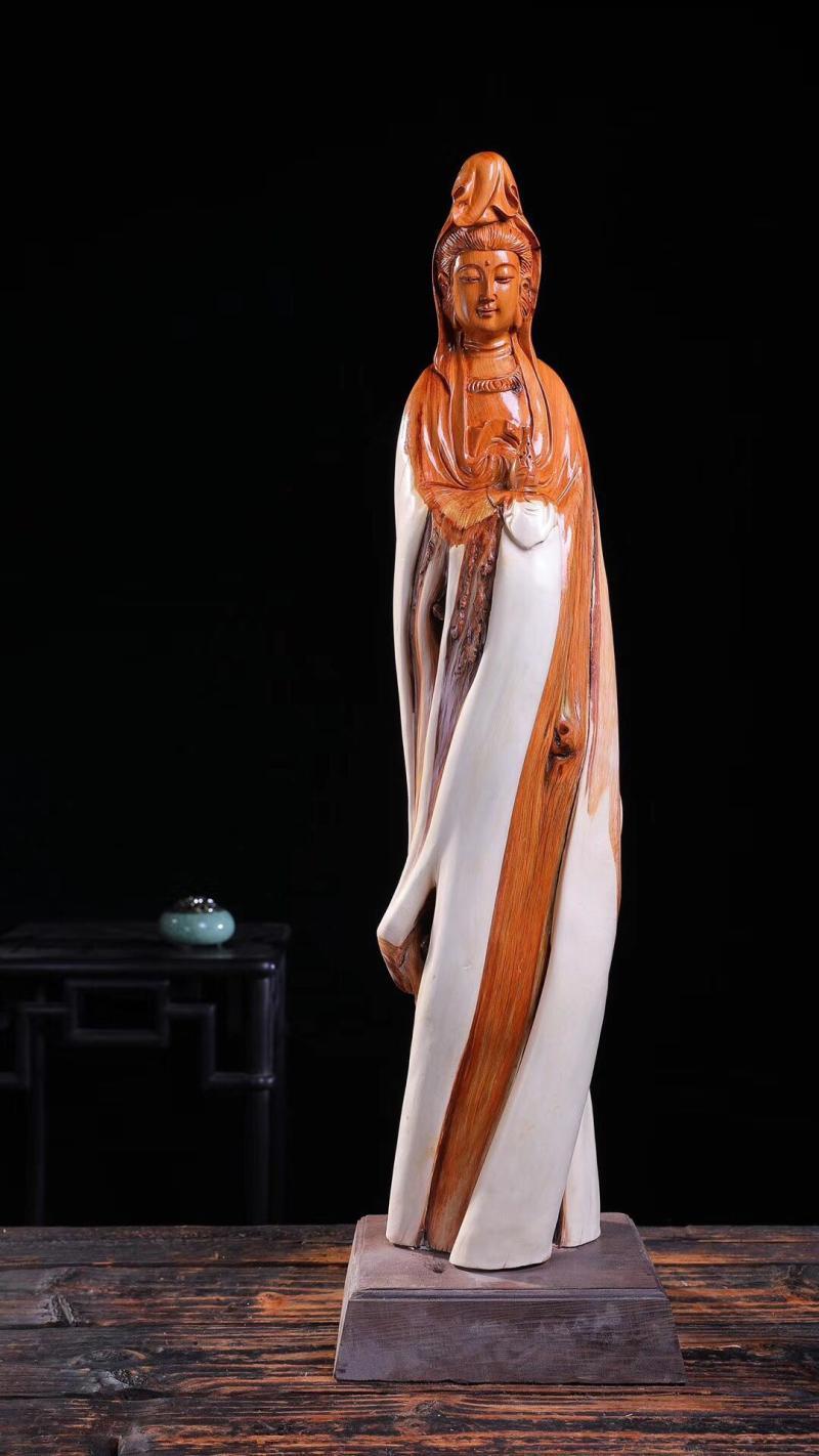 崖柏木雕佛像客廳家居風水鎮宅雕刻手工藝品供奉人物擺件觀音菩薩1入