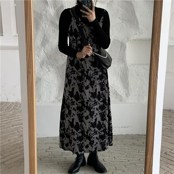 連身裙 氣質吊帶裙子女裝正韓秋冬季內搭收腰顯瘦中長款洋裝-Milano米蘭