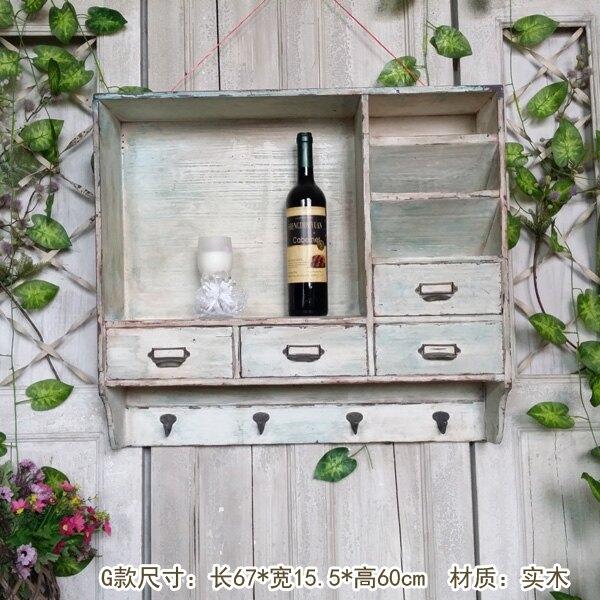 美式鄉村復古實木墻上置物架 zakka墻面收納架裝飾掛鉤孤品壁掛鏡1入