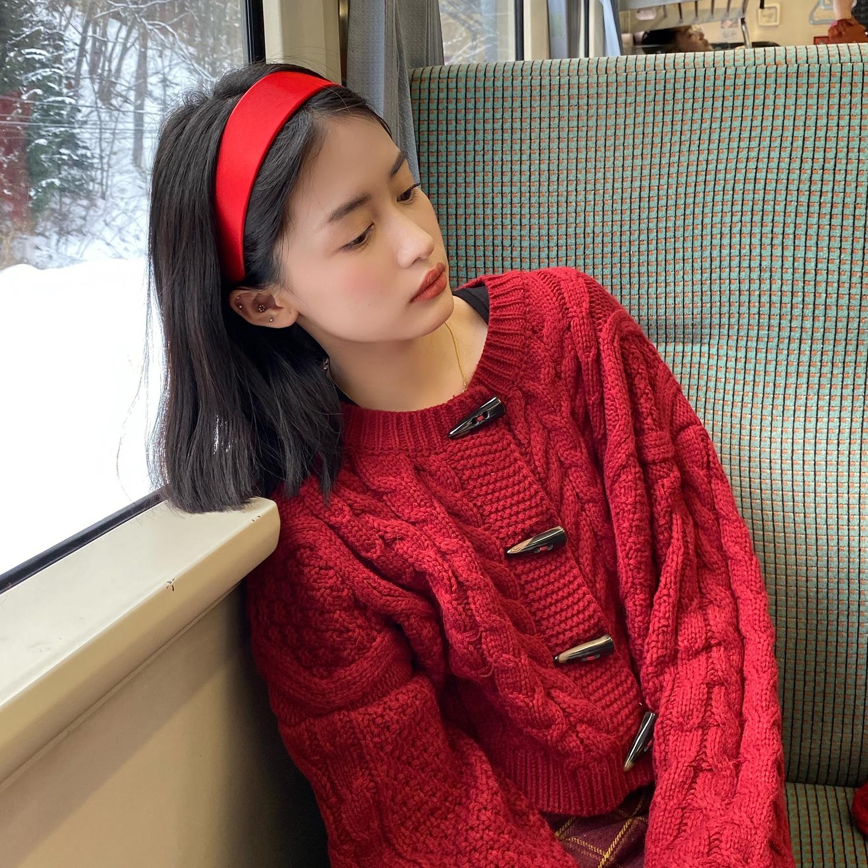 網紅款寬邊洗臉發箍純色亮面布藝壓發頭箍簡約風學生氣質百搭發飾1入