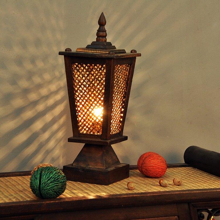 泰國工藝品竹編手工個性創意裝飾臺燈東南亞復古簡約臥室床頭燈1入