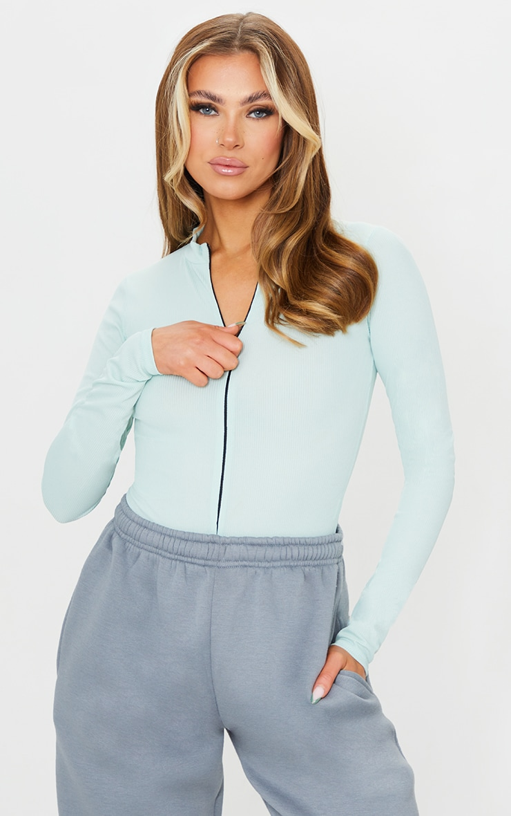 Light Mint Rib Zip Up Long Sleeve Bodysuit