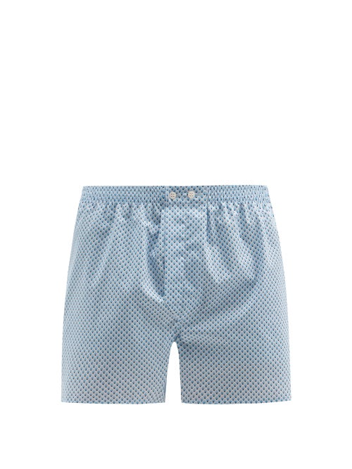 Derek Rose - Ledbury Geometric-print Cotton-poplin Boxer Shorts - Mens - Blue